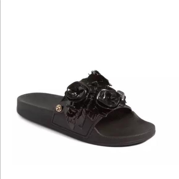 9e5c537ff249d NIB Tory Burch Blossom Slide Sandal Black